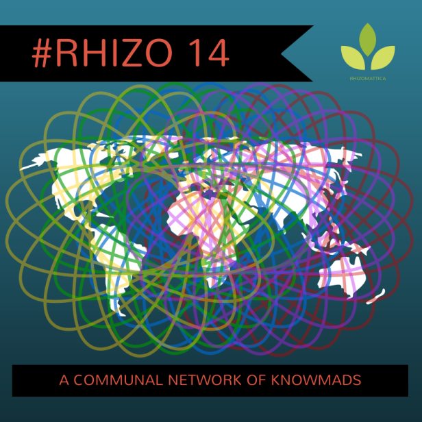 a design I created and offered the Rhizo14 community. Some of us got t-shirts made with this piece of digital art. I used Canva.com in this creation.